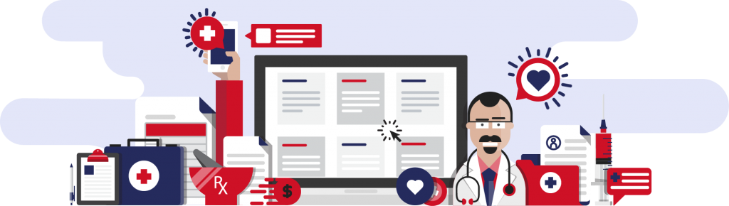 Vector graphic mashup of medical elements like a doctor, and other emoji style graphics, in rebel red and rebel blue